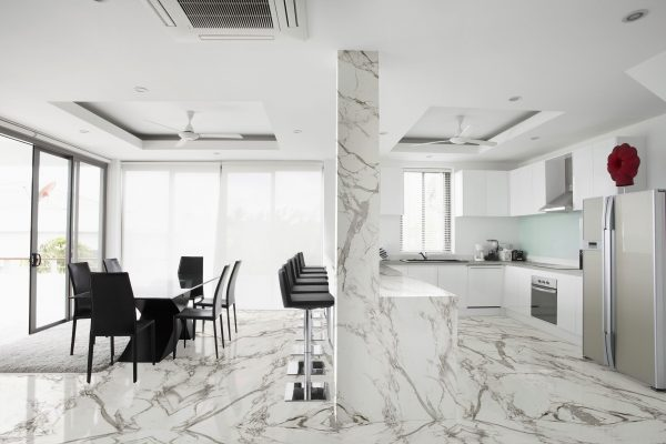 Dekton Aura Bookmatch flooring cladding
