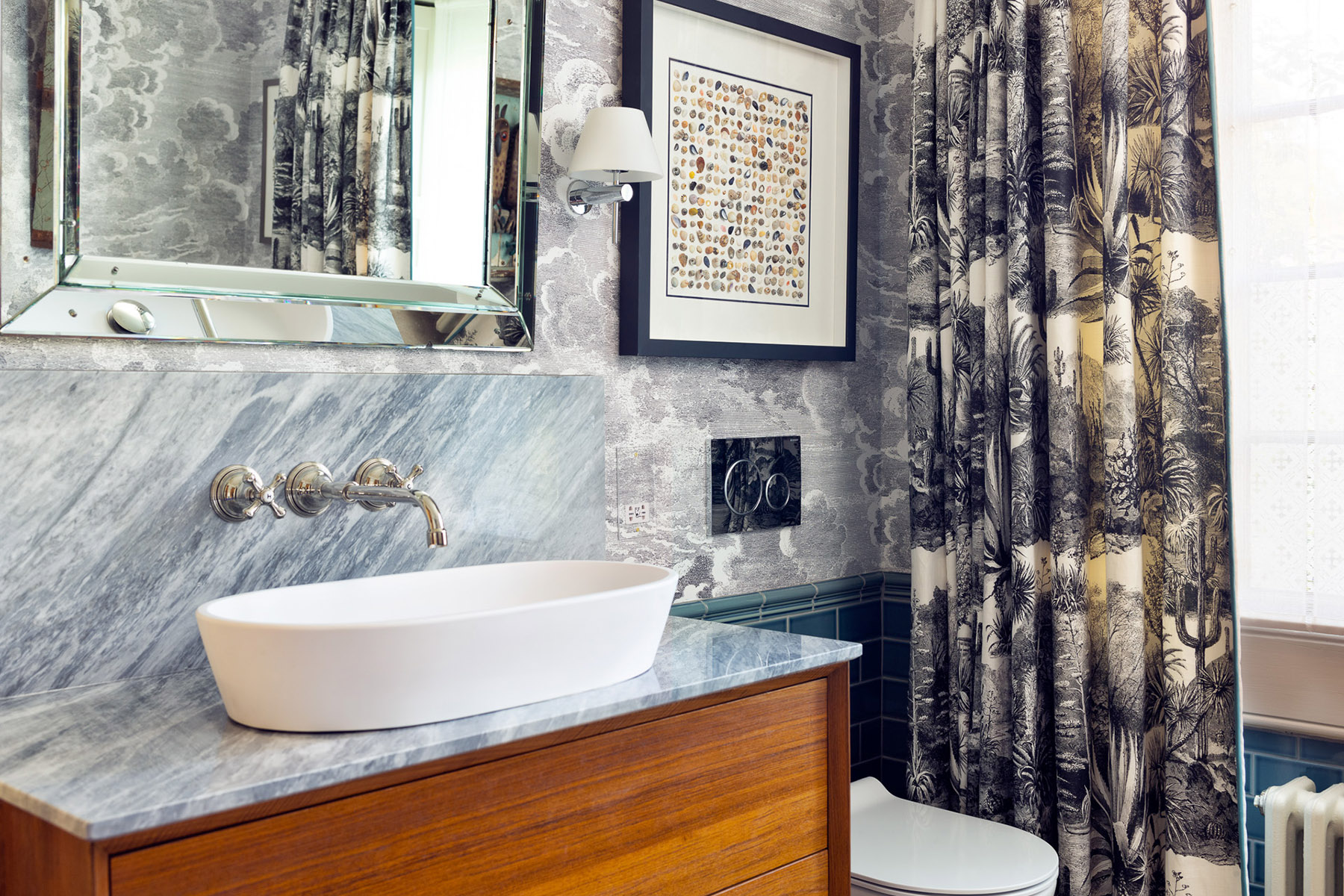 bathrooms and stone feature walls